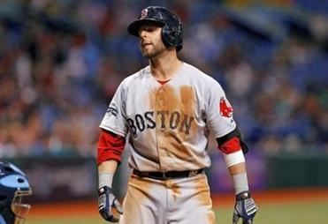 Dustin Pedroia reacted after being called out on strikes against the Tampa Bay Rays on Thursday night.